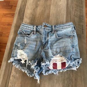 Massimo American Flag High Rise Denim Jean Shorts